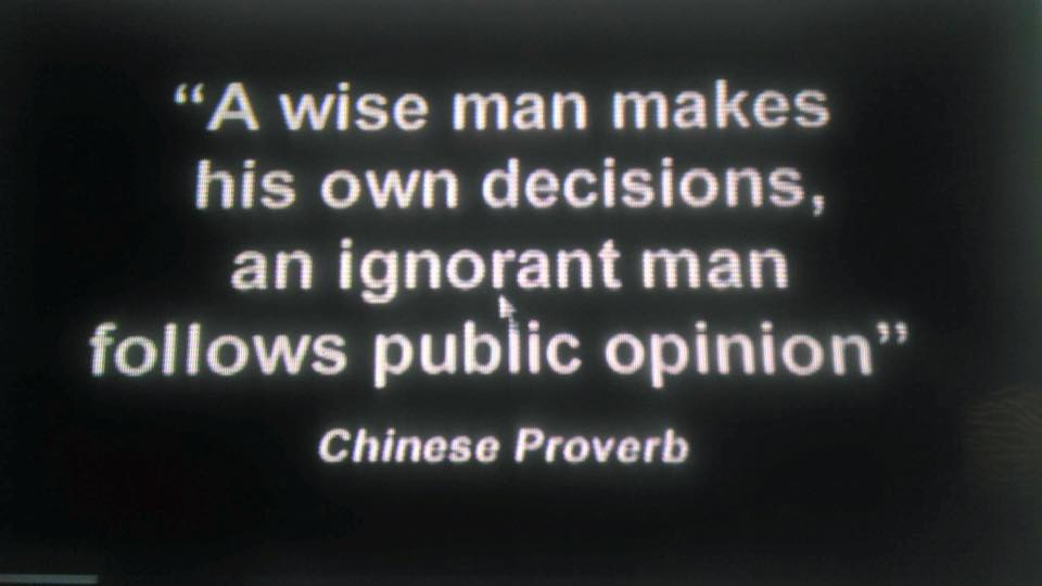 Chinese proverb - Palestine and Israel - make your own decisions